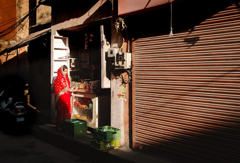 Red Saree Lady