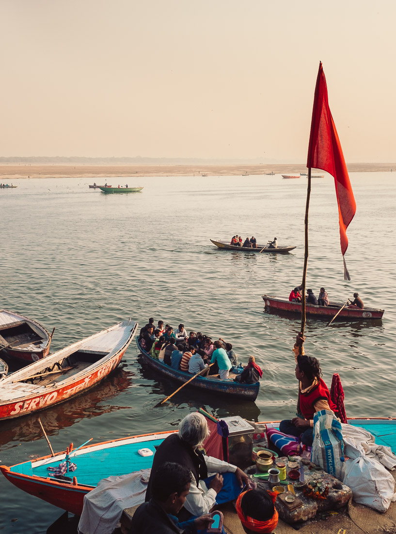 Boats of people arriving via the Ganges River into Varanasi.