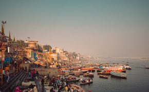 View of Varanasi at sunset with hazy sky